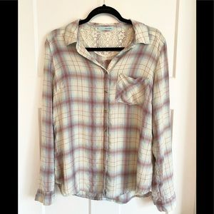 Maurices Casual Button Down Shirt White & Purple